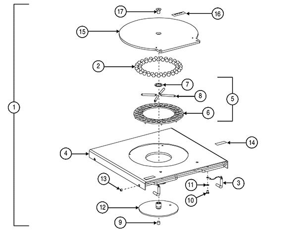 Внутренняя конструкция поворотного диска Hunter 20-1849-1